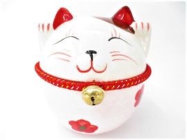 Japanse Dikke Lucky Cat Spaarpot met Bel Rose 15cm