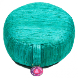 Meditation cushion raw silk Emerald Green Coarse 33 × 17 cm