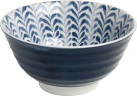 Ribbels Blad patroon Japans blauw  Ø13 cm