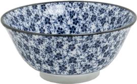 Blue Bowl pattern flower leaves  Mix  Ø15 cm | H7 cm