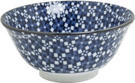 Blauw kom patroon Kruis & vierkant Ø15 cm   H7 cm