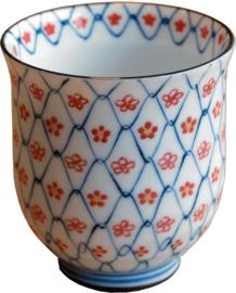 Bloemen  thee kop Oranje Rood Ø7,2 × 8 cm