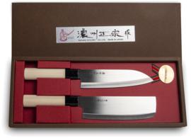 Satake Cutlery Japan knife set Nakiri and Santoku 2 pcs 17,5cm
