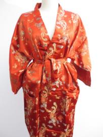 Kimono Lang Dragon/Phoenix Rood