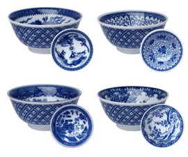 4 Blue bowls assorted