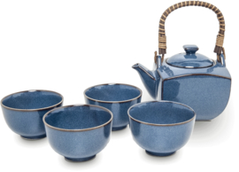 Tea set Japanese blue  Ø8,5 cm | H5,2 cm | 600 mL | 5 pcs D2