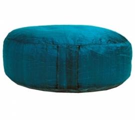Meditatiekussen ruwe zijde Blauw 33×17 cm