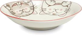 Drie katten Schalen ovaal rood 17x15 cm | H4 cm