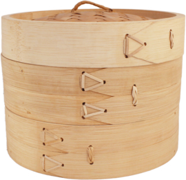 Bamboo Steam basket 2 layers with lid Ø30 cm