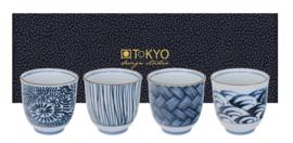 Tokyo Teacup Giftset 4pcs Blue 8x7.9cm