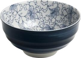 Blauwe Japanse bloemen lijntjes Bol Ø16,5 cm | H8 cm E5