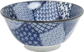 Blauw kom patroon Mix Ø15 cm   H7 cm