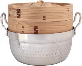Bamboe stoommand met deksel  en Pan Ø18 cm