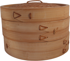 Bamboo steam basket two baskets with lid Ø25 cm