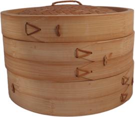 Bamboe stoommand twee mandjes met deksel Ø25 cm