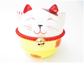Japanese Fat Lucky Cat Money Box with Bell Yellow 15 cm