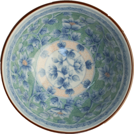 Bowl Fish scales with blue green flowers