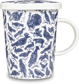 Theebeker met filter Vogels blauw  Ø9,5 cm | H11 cm