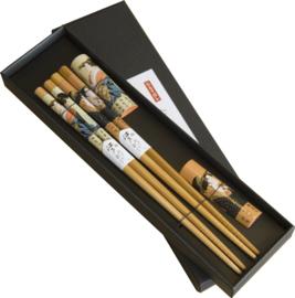 Eetstokjes bamboe gelakte Dames 2 paar met houder