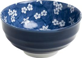 Blauwe Japanse bloemen Sakura Bol Ø16,5 cm | H8 cm