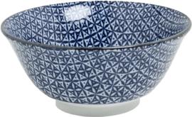 Blauw kom patroon Ruit & vierkant Ø15 cm | H7 cm