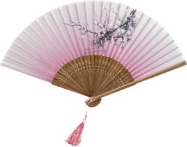 Waaier  Zijde, bloem 21 cm Pink