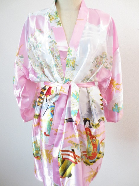 Japanse Kimono Kort Licht Roze