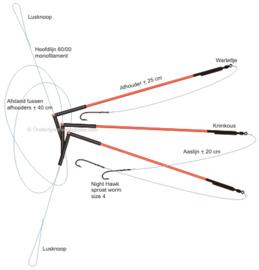 Platvis onderlijn 3x bezem afhouders 3 haaks Met krimpkous