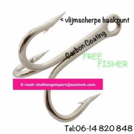 Free fisher dreggen maat 1 2 & 12/0 zilver Carbon coating