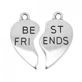 DQ Hangers Heart Best Friends Antiek Zilverkleurig