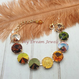 Armband Autumn Mix Golden Topaz & Green crystals