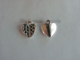Bedel Antiek Zilverkleurig Hartje voor Swarovski puntstenen PP14 (2,0mm)