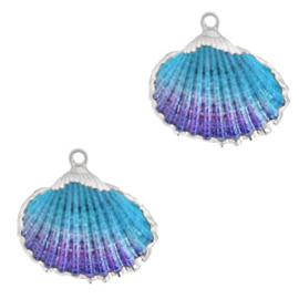 Schelp Hanger Blauw Paars met Zilver
