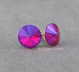 Sterling Silver Oorstekers met Swarovski Crystal Light Siam Star
