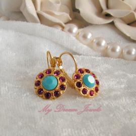 """Swarovski Oorbellen """"Daisy"""" Fuchsia Turquoise"""