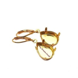 Goudkleurige Oorhangers voor Swarovski Druppel 14x10mm