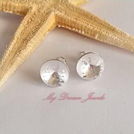 Sterling Silver 925 oorstekers met Swarovski Sea Urchin Crystal 10mm
