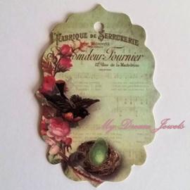 Romantisch Vintage Look Label Vogel per 3 stuks