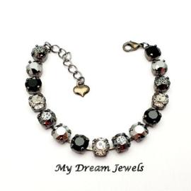 Armband met Swarovski  Crystal Black Patina Silver Shades