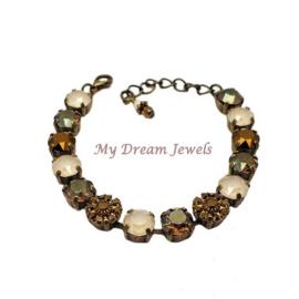 Armband  Ivory Gold Bronze met Swarovski Crystal