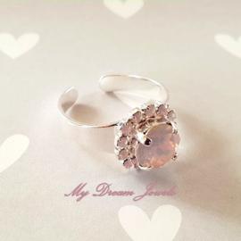 """Zilverkleurige Ring met Swarovski Crystal """" Rose Opal """""""