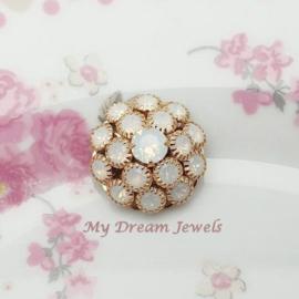 Vintage Swarovski Flower Component White Opal