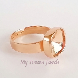 DQ Ring verstelbaar Rosé Gold voor Swarovski vierkant 4470 10mm