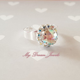 """Zilverkleurige Ring met Swarovski Crystal """" Crystal AB """""""
