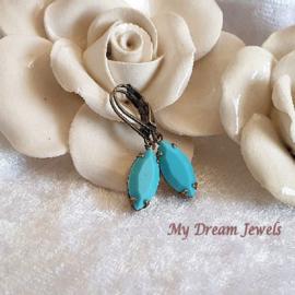Oorhangers Swarovski  Vintage Navette Turquoise