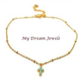 Goudkleurige Roestvrij stalen (RVS) enkelbandje kruis met Swarovski Turquoise