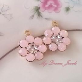 Swarovski Bloem hanger  Rose Opal Crystal