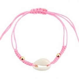 Armband met schelp Neon Roze