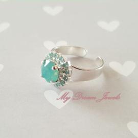 """Zilverkleurige Ring met Swarovski Crystal """" Pacific Opal """""""
