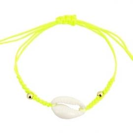 Armband met schelp Neon Yellow